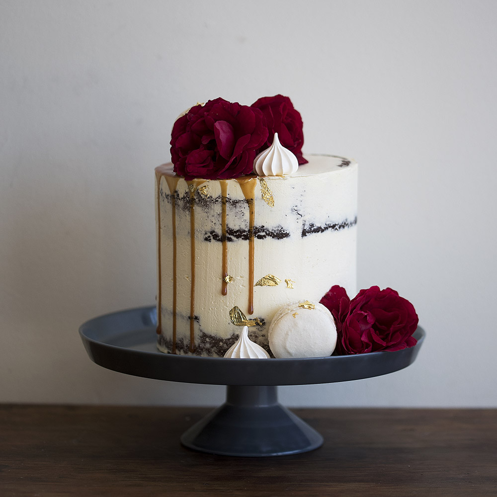 Caramel Drip with Flowers Party Cake