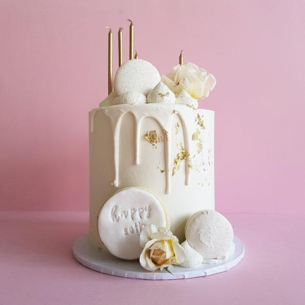 6x6 white gold party cake