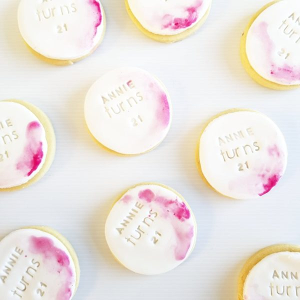 Round Cookie, Pink Watercolour, The Cake Eating Co, Christchurch