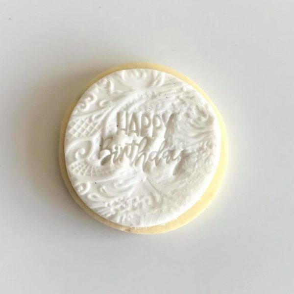 White Embossed Cookie, The Cake Eating Co, Christchurch