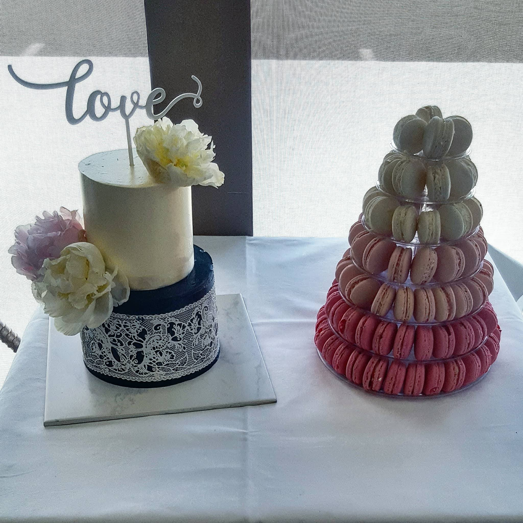 2 tier wedding cake with macaron tower