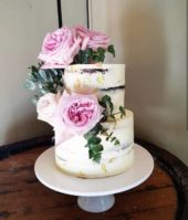 2 Tier Semi Naked Cake With Flowers