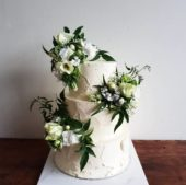 3 Tier White Textured Wedding Cake