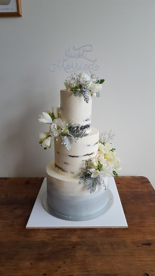 Silver 3 tier wedding cake