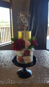Gold And Floral Wafer Paper 2 Tier Wedding Cake