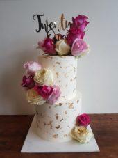 21st White And Gold Birthday Cake