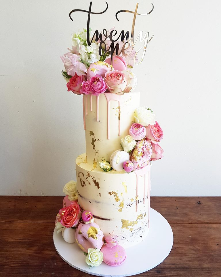 2 Tier White and Pink Themed Fondant Cake with Real Gold