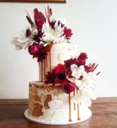 2 Tier Red And White Floral Cake
