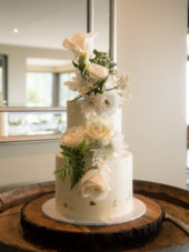 Two Tier White And Gold Wedding Cake, The Cake Eating Company, Christchurch, Photo Credit Frameboy Weddings