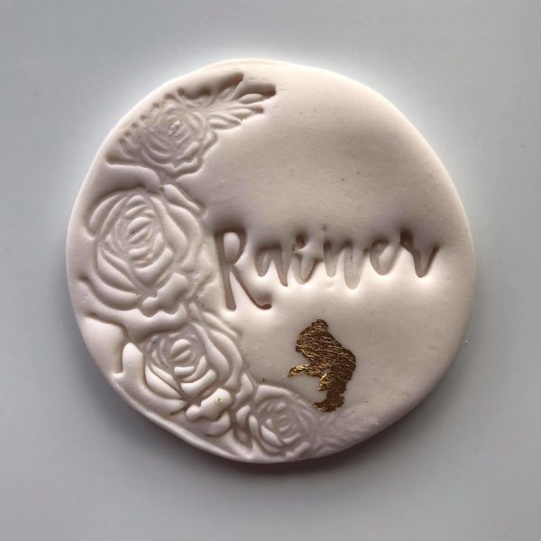 Cookie flower imprint with name, The Cake Eating Co, Christchurch